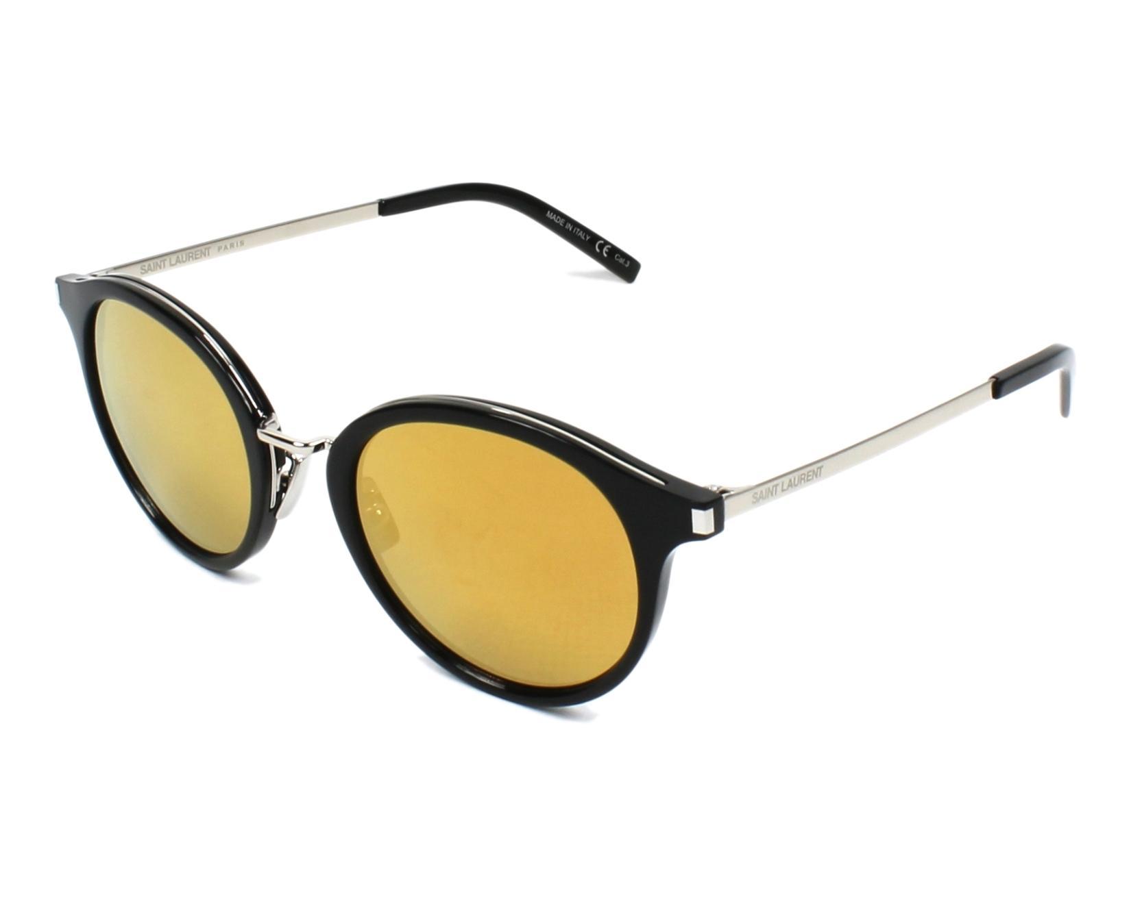 Saint Laurent SL57 Sonnenbrille Schwarz und Silber 002 49mm acxHAT
